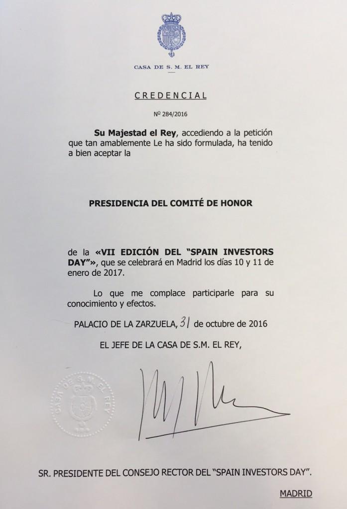 credencial-casa-real-presidir-consejo-rector
